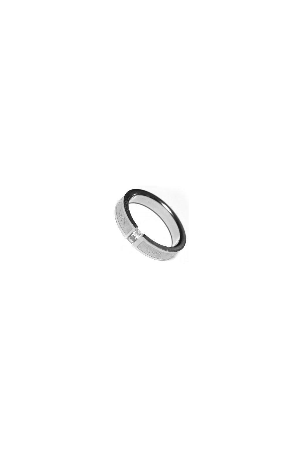 Skalimar Prsten z chirurgické oceli S GRAVÍROVÁNÍM A KŘIŠŤÁLKEM 212012