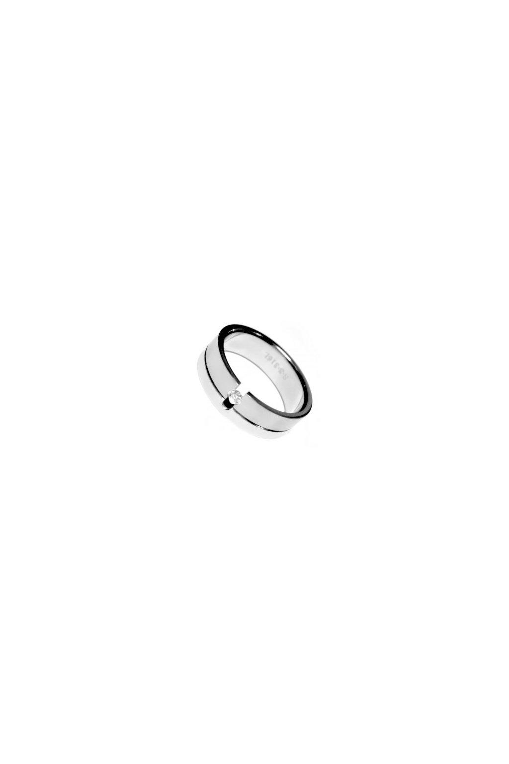 Skalimar Prsten z chirurgické oceli S RÝHOU A DROBNÝM KŘIŠŤÁLKEM 212017