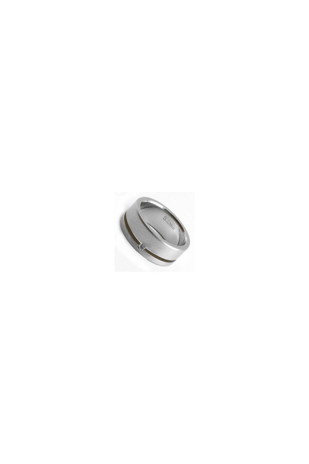 Skalimar Prsten z chirurgické oceli MATNÝ KROUŽEK OSAZEN ČIRÝM ZIRKONEM 212055