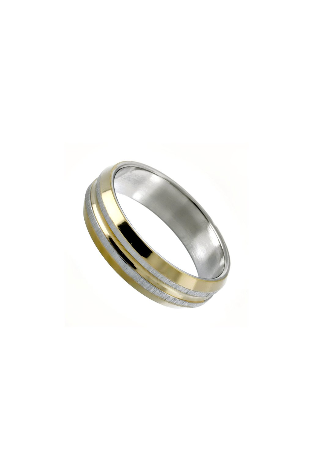 Skalimar Prsten z chirurgické oceli POZLACENÝ KROUŽEK S MATNÝM BRUSEM 212120