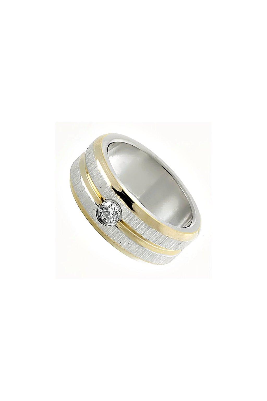 Skalimar Prsten z chirurgické oceli SE TŘEMI POZLACENÝMI PRUHY A KAMÍNKEM 212119