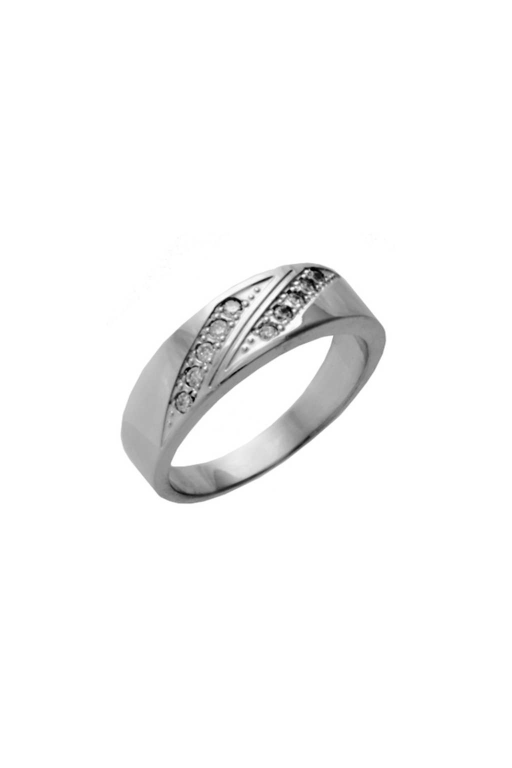 Skalimar Prsten z chirurgické oceli ELEGANTNÍ ŠPERK OSÁZEN DROBNÝMI KŘIŠŤÁLKY 212143