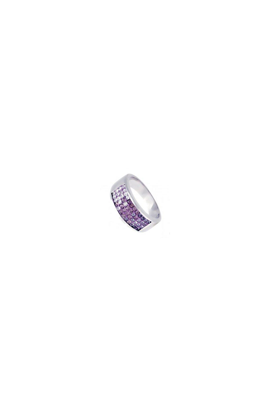 Skalimar Prsten z chirurgické oceli LILA CRYSTAL 312396