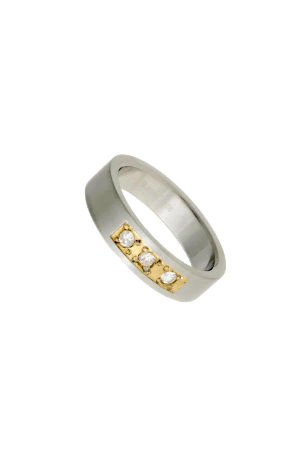 Skalimar Prsten z chirurgické oceli S POZLACENÝM STŘEDEM A ZIRKONY 312415