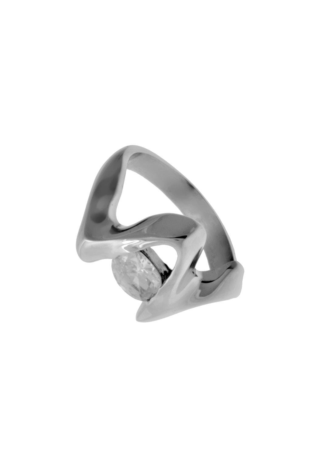 Skalimar Prsten z chirurgické oceli ORIGINÁLNÍ TVAR ZDOBENÝ KŘIŠŤÁLKEM 312428