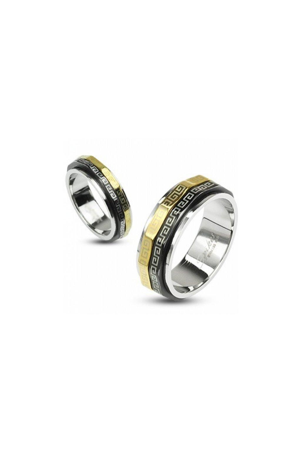 Skalimar Prsten z chirurgické oceli ZLACENÝ S ORNAMENTEM 312439