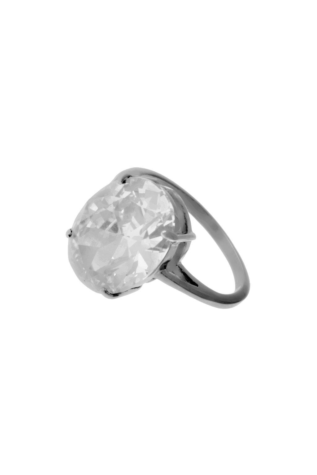 Skalimar Prsten z chirurgické oceli S KŘIŠŤÁLOVÝM KAMENEM- oválný 312551