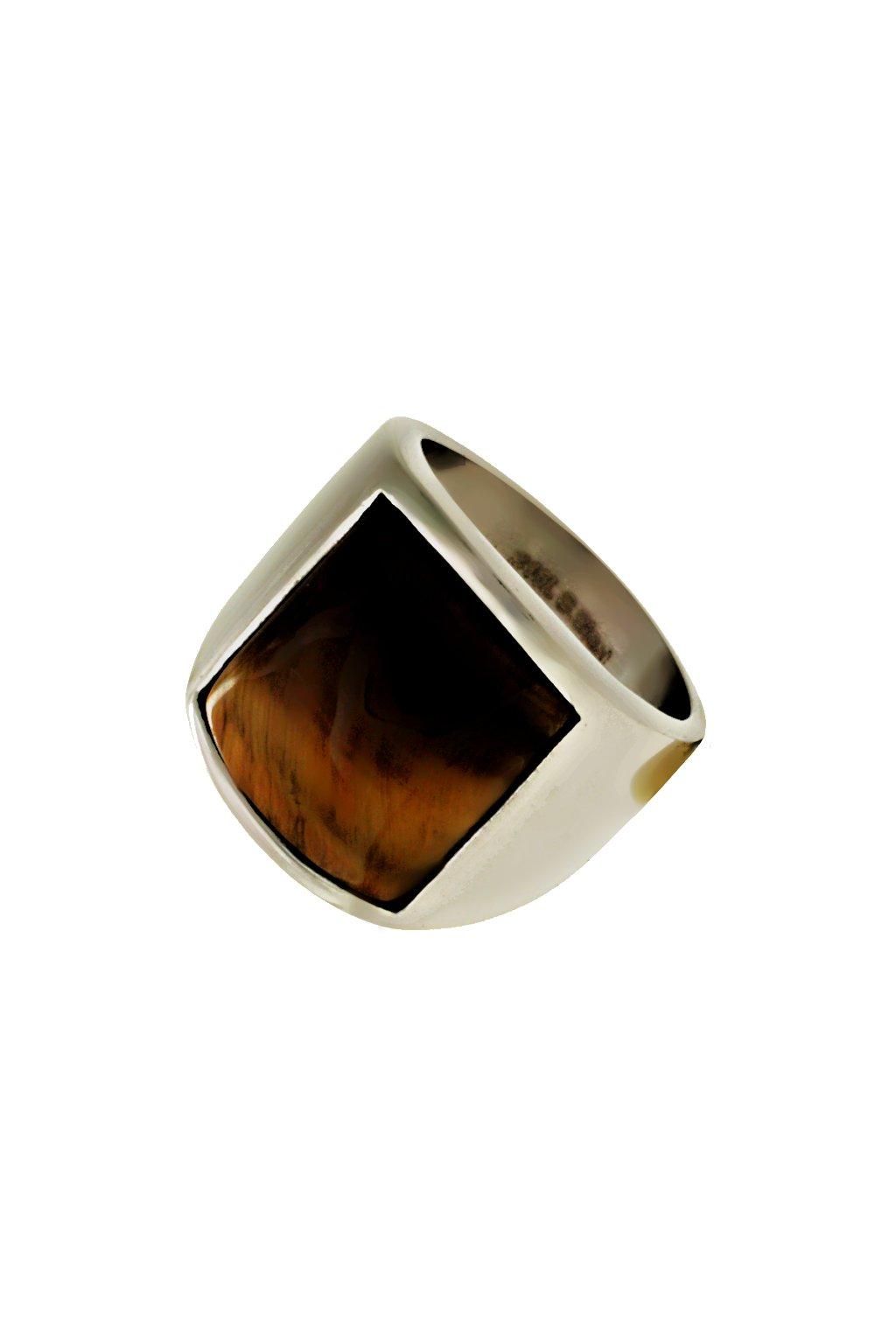 Skalimar Prsten z chirurgické oceli KOČIČÍ OKO HNĚDÝ 312628