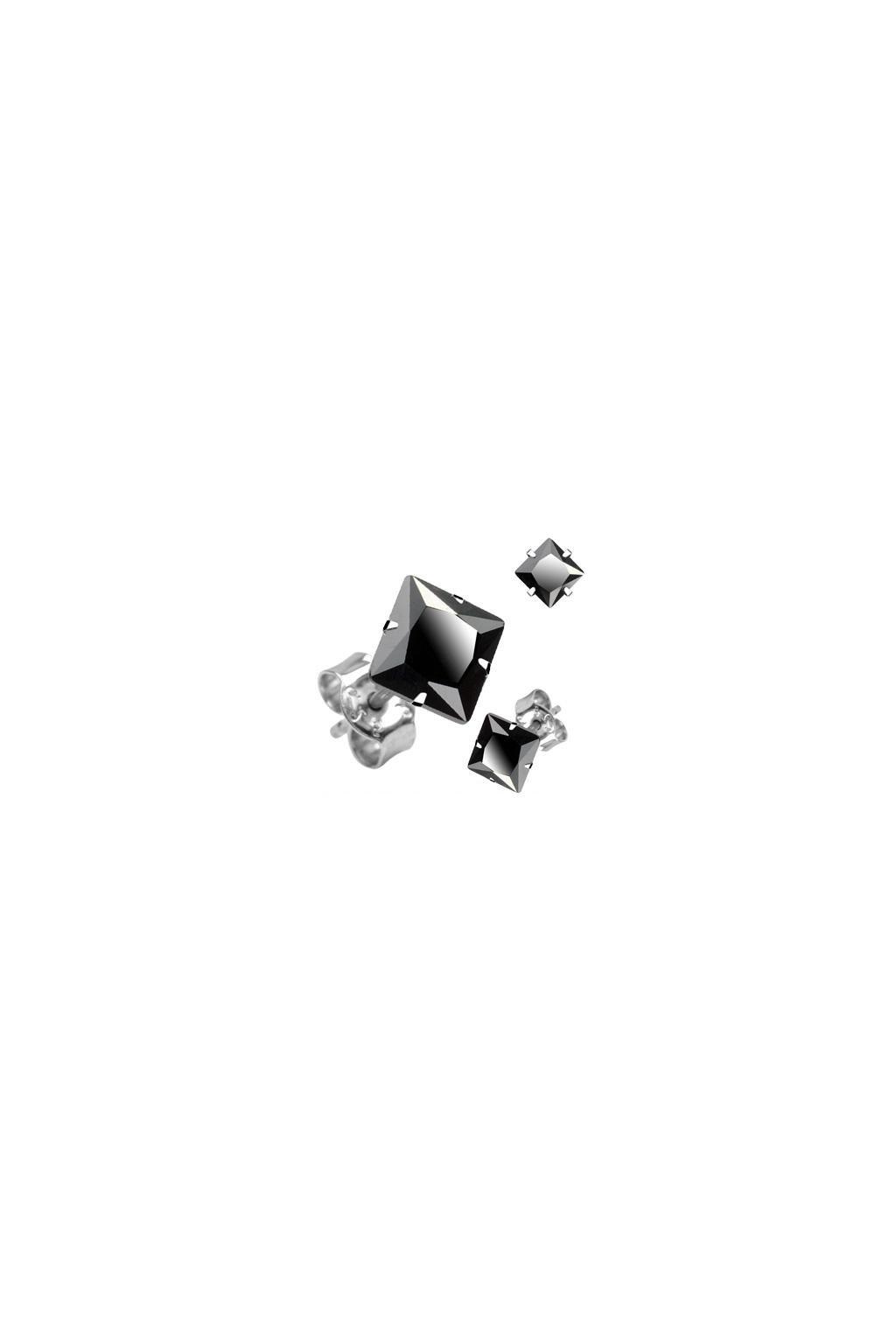 Skalimar Náušnice z chirurgické oceli ČERNÝ KŘIŠŤÁL- ČTVEREC 41000902Č