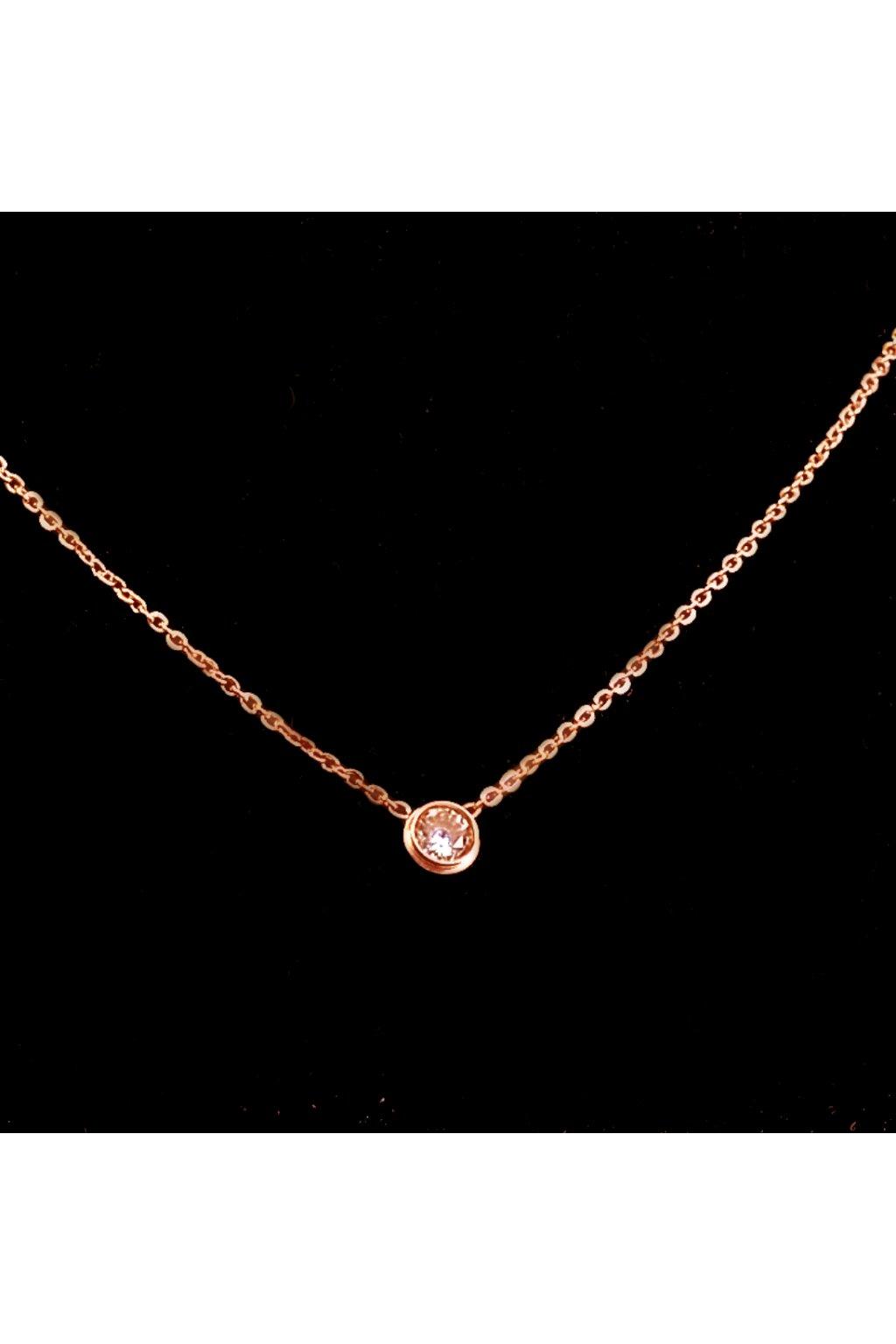 Skalimar Náhrdelník z chirurgické oceli ROSE GOLD ZIRKON 31002205B
