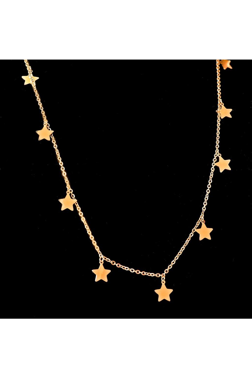 Skalimar Náhrdelník z chirurgické oceli ROSE GOLD HVĚZDY 32000309 B