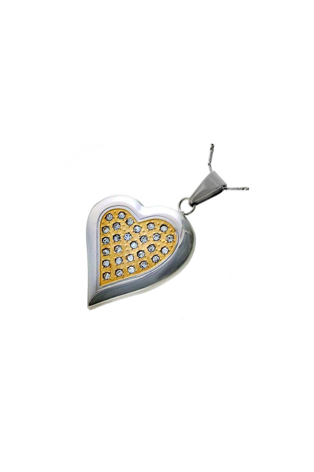 Skalimar Přívěsek z chirurgické oceli SRDCE POZLACENÉ 213254