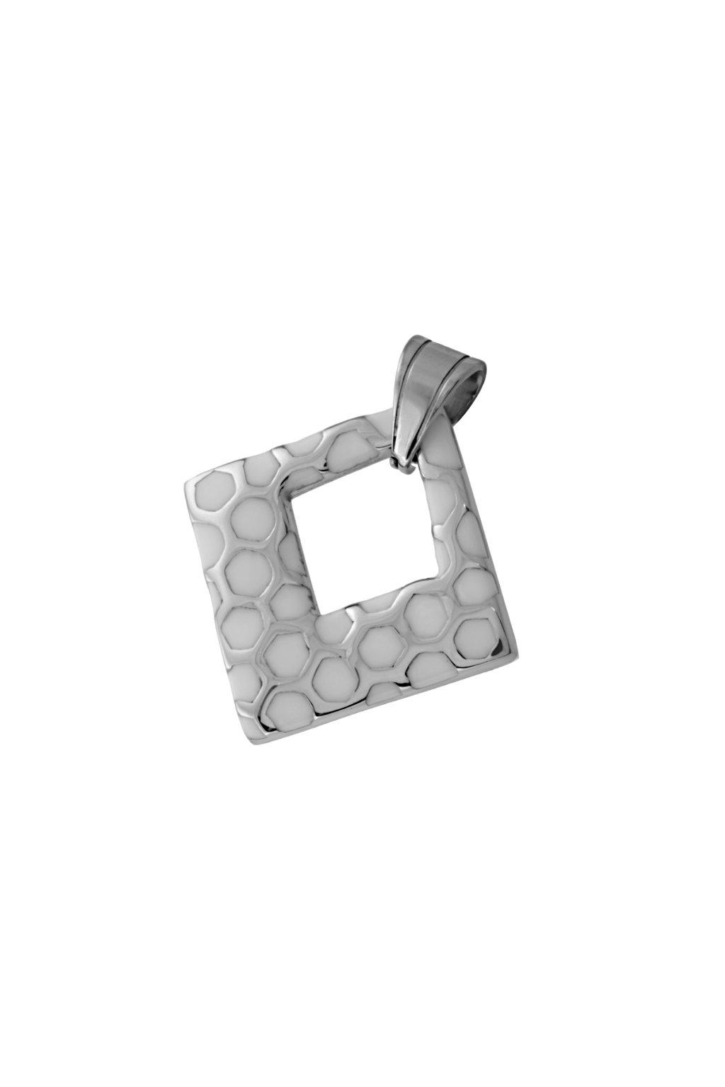 Skalimar Přívěsek z chirurgické oceli KOSOČTVEREC SMALT BÍLÝ 213227