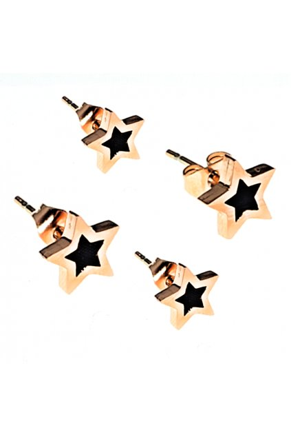 Skalimar Náušnice z chirurgické oceli HVĚZDIČKY ROSE GOLD 41002503