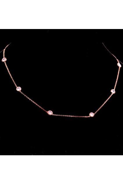 Skalimar Náhrdelník z chirurgické oceli ROSE GOLD ZIRKONY 31002305