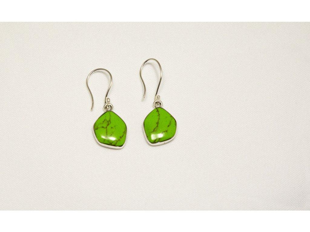 Náušnice stříbrné - zelený kámen
