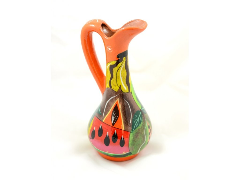 Mexický džbán - ručně malovaný - oranžový