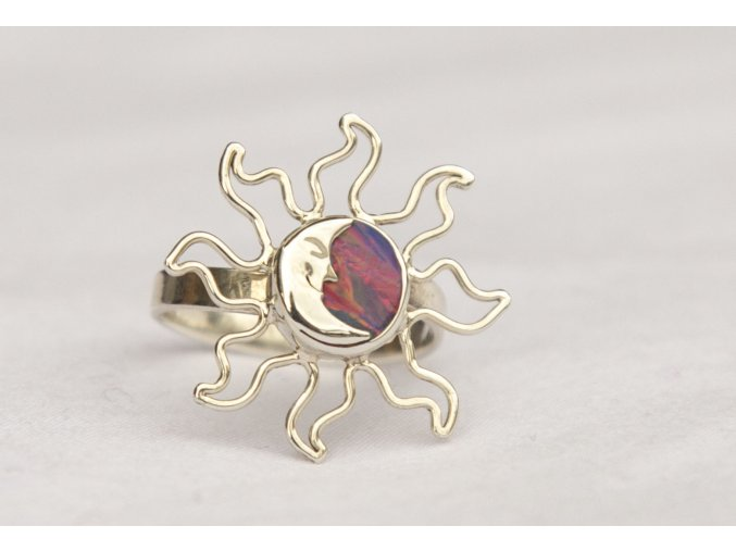 """Prsten stříbrný """"Eclipse"""" - fialový opál"""