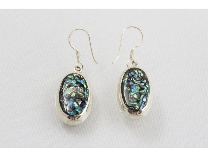 Náušnice stříbrné visací - perleť Paua