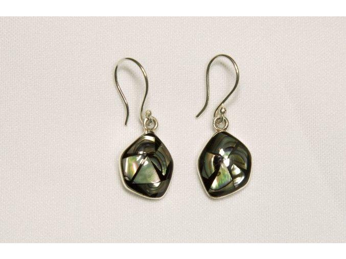 Náušnice stříbrné - obsidián a paua