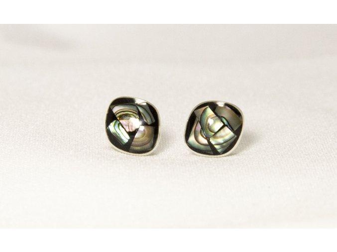 Náušnice stříbrné puzetka - obsidián a Paua