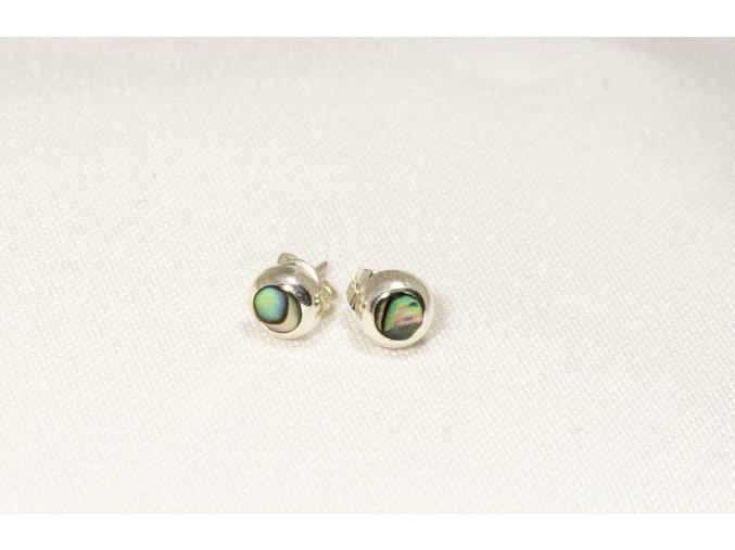 Náušnice stříbrné puzetka - Paua mini