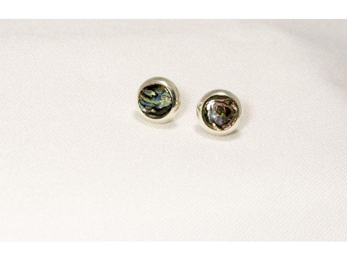 Náušnice stříbrné kruhové  puzetka - mušle Paua