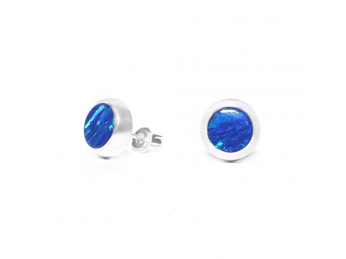 Náušnice stříbrné puzetka - modrý opál