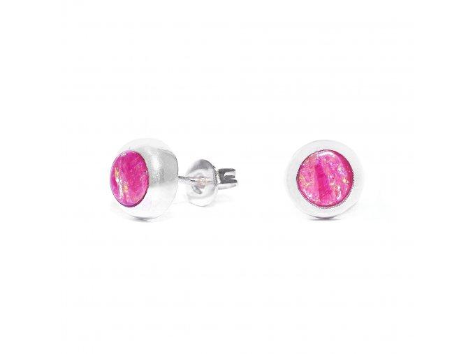 Náušnice stříbrné puzetka - světle růžový opál