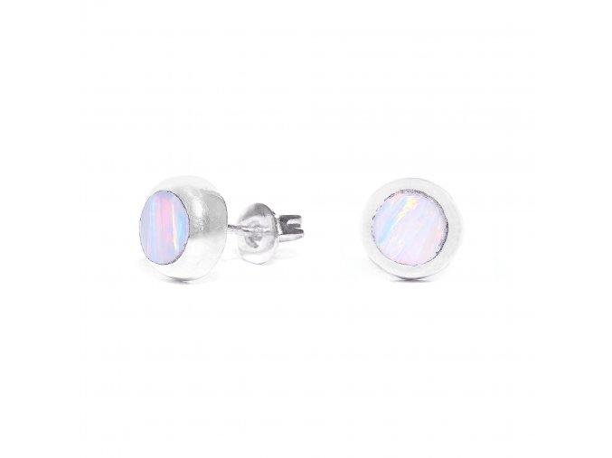 Náušnice stříbrné puzetka mini - bílý opál