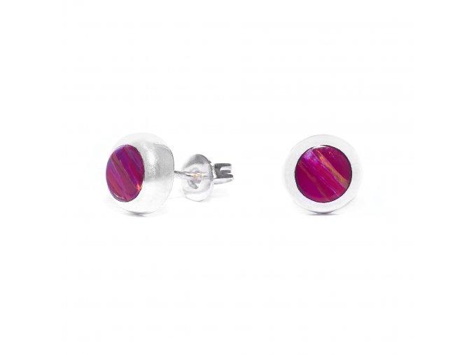 Náušnice stříbrné puzetka mini - tmavě růžový opál