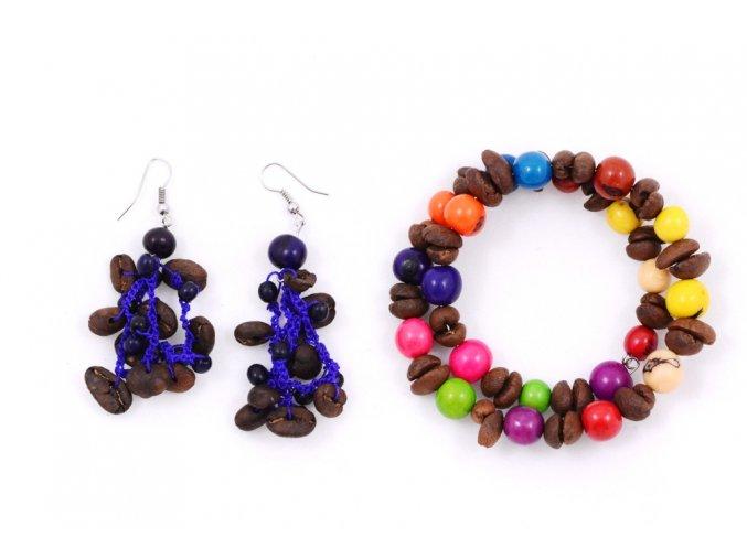 Set z kávových zrn a palmových semínek - dvoudílný - fialový