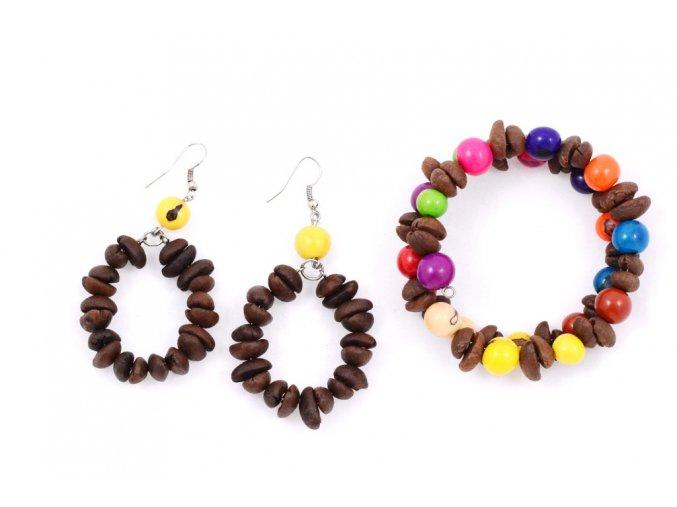 Set z kávových zrn a palmových semínek - dvoudílný - žlutá