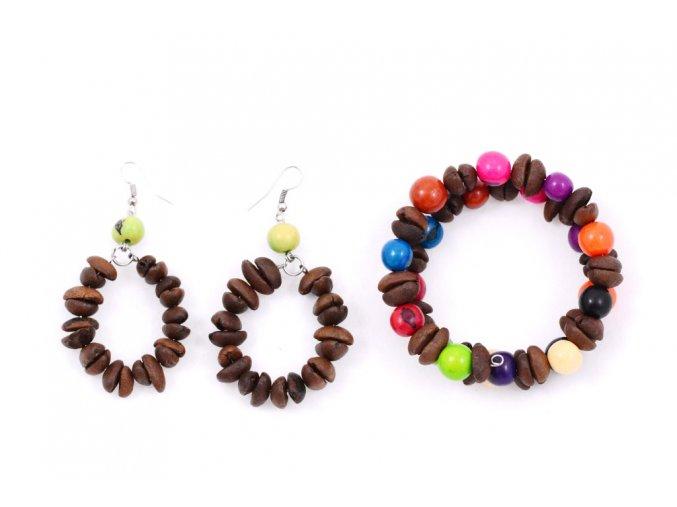 Set z kávových zrn a palmových semínek - dvoudílný - zelenožlutá