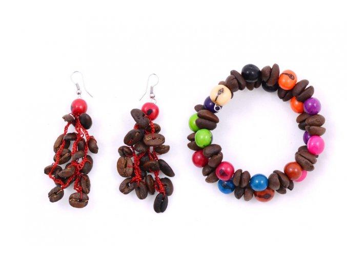 Set z kávových zrn a palmového semínka - dvoudílný - červená