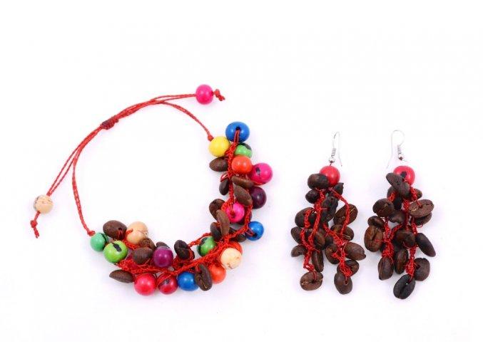 Set z kávových zrn a palmových semínek - dvoudílný - červená