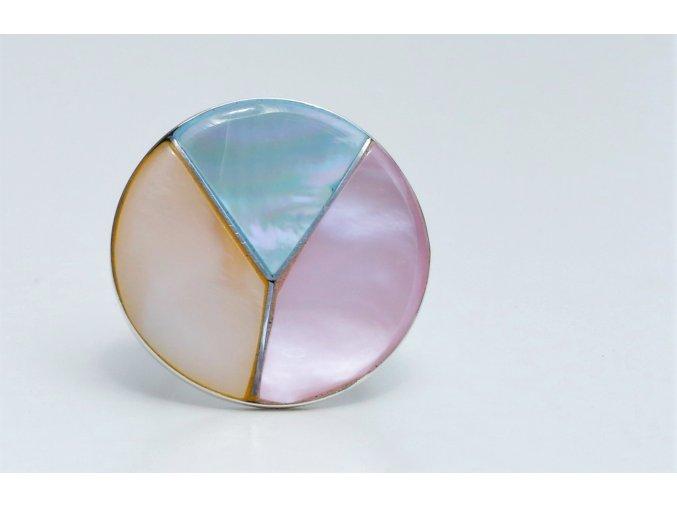 Prsten stříbrný - trikolóra perleť