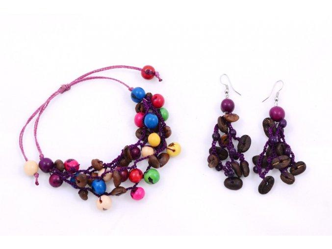Set z kávových zrn a palmových semínek - dvoudílný - fialová