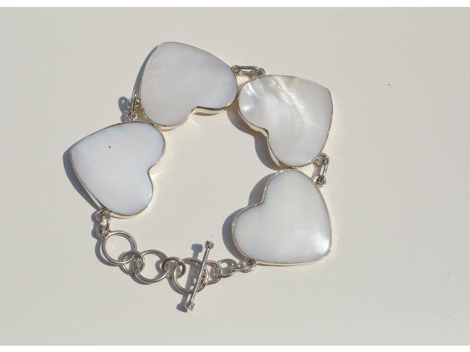 """Náramek stříbrný """"Corazon"""" - bílá perleť"""