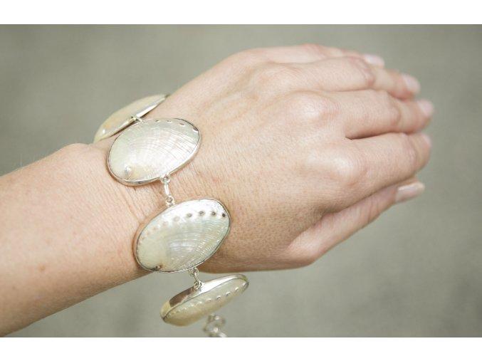 Náramek stříbrný - duhová Paua
