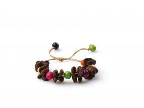 """Náramek z kávových zrn a palmových semínek - """"Simple"""" - libovolně nastavitelná velikost"""