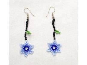 Náušnice HUICHOL - Květina modrá