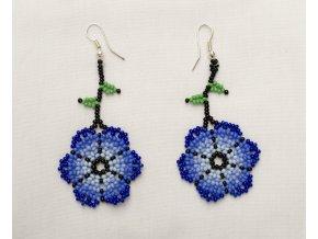 Náušnice HUICHOL - Květina modrá velká