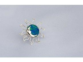 """Prsten stříbrný """"Eclipse"""" - modrý opál"""