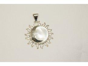 "Přívěšek stříbrný ""Eclipse"" - bílá perleť"