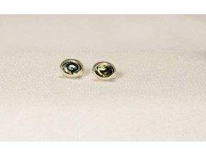 Náušnice stříbrné puzetka - Paua mini ovál