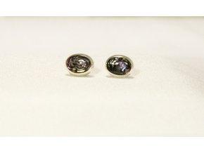 Náušnice stříbrné oválné puzetka - perleť Paua