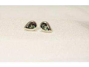 Náušnice stříbrné kapky - perleť Paua