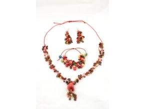 Set kávových zrn a palmových semínek - trojdílný - červená