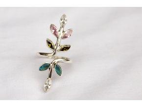 Prsten stříbrný - Květina Swarovski III.